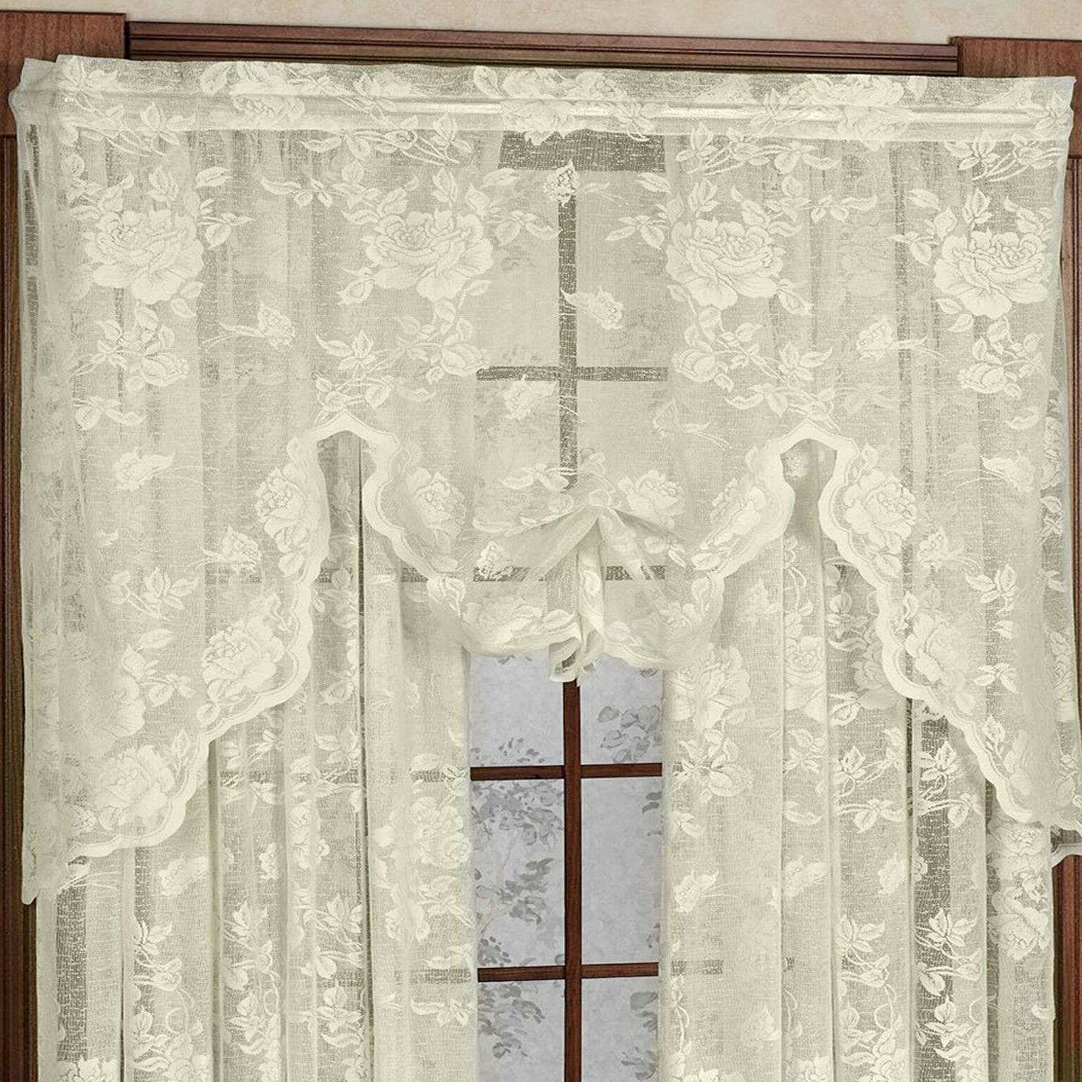 "Primary image for Abbey Rose Floral Pattern High Gauge Lace Swag 55""W x 38""L Ivory"