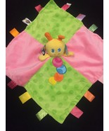 Taggies Caterpillar Security Blanket Lovey Ribbon Pink Green Patchwork - $37.36
