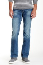 NEW MENS TRUE RELIGION STRAIGHT LEG DISTRESSED 5 POCKETS  BLUE JEANS 44 ... - $89.99