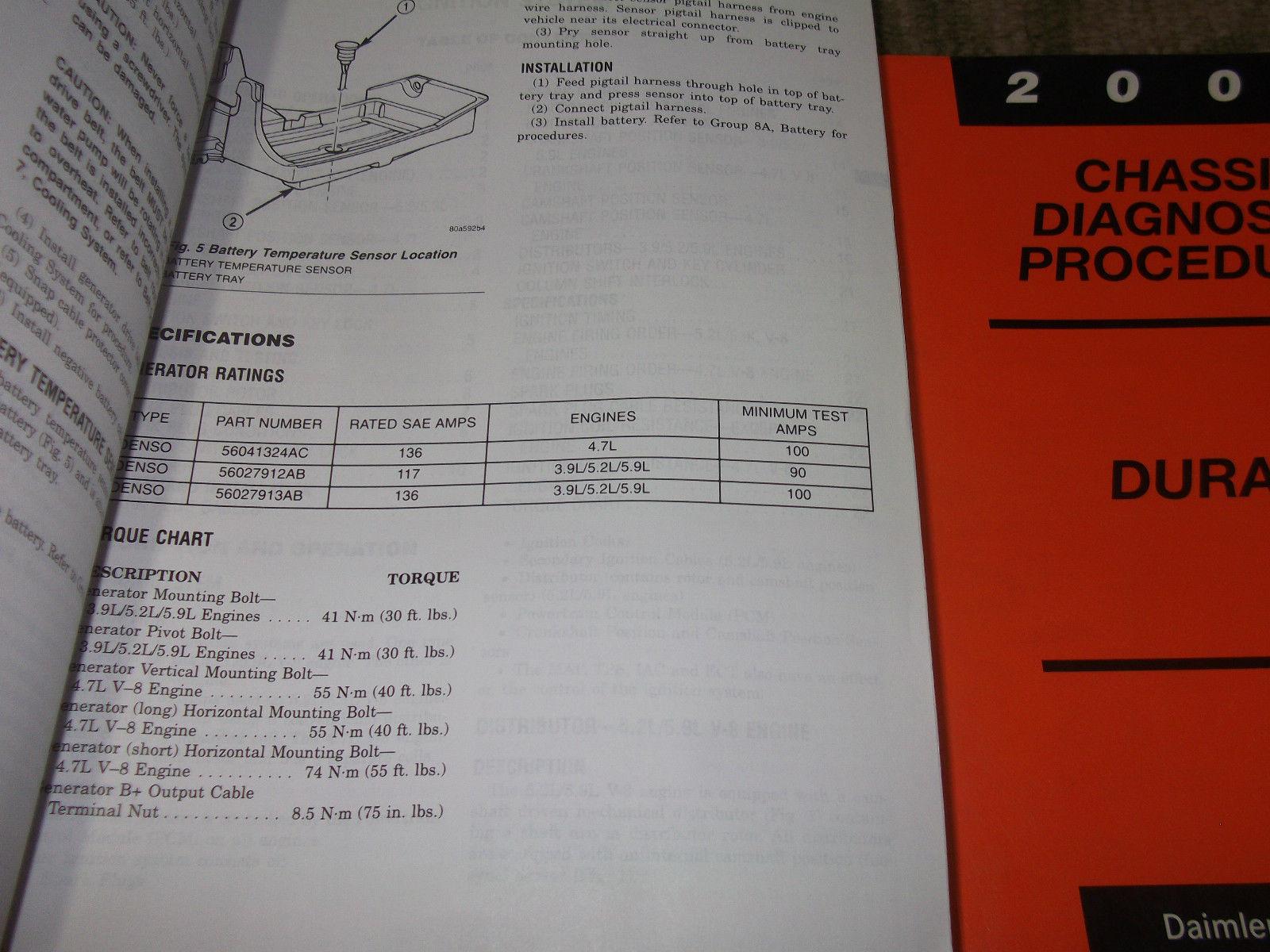 2000 Dodge Durango Service Repair Shop Manual Set OEM FACTORY DEALERSHIP BOOKS