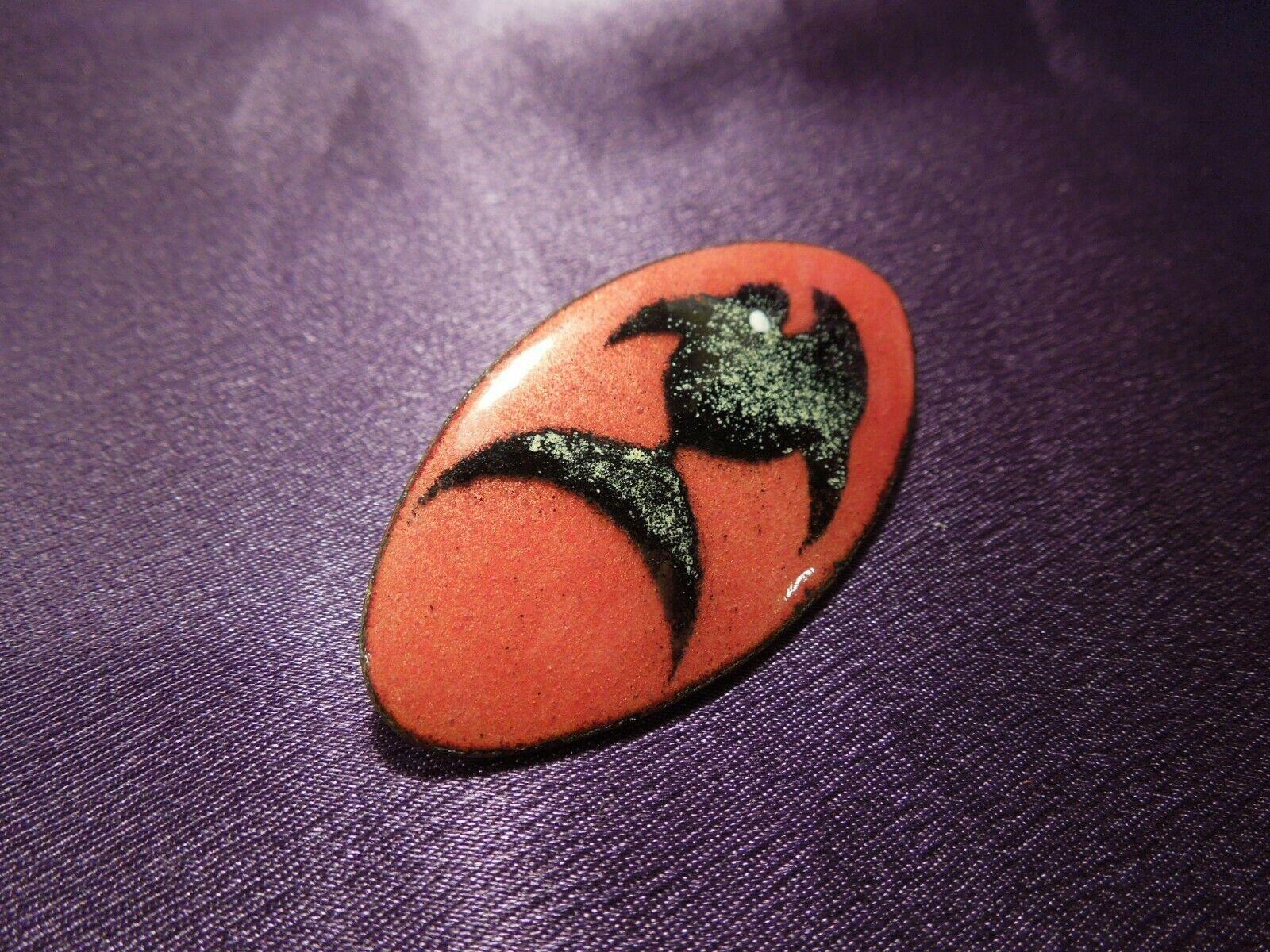 Fish Abstract Modernist Enamel Painted Copper Screw Back Earrings & Pin Brooch