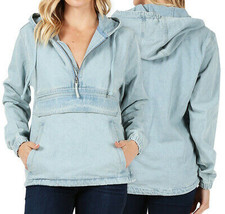 Women's Premium Cotton Casual Hoodie Half Zip Pullover Denim Jean Jacket