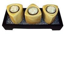 Closeoutservices Wooden Votive Candle Tray with 3 Ceramic Towers, Floret... - $23.69