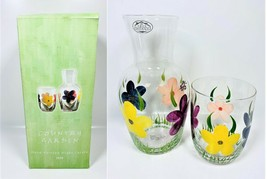 Country Garden Hand Painted Night Carafe Set - $59.39