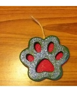 Green and Red Dog Paw Christmas Ornament - $3.00