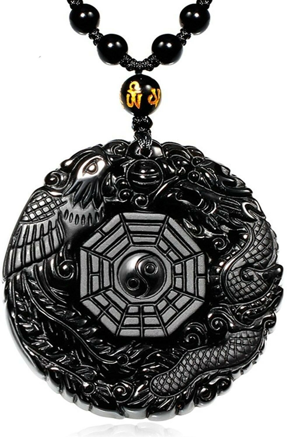 Primary image for Black Elegant Round Natural Obsidian Crystal Pendant Necklace Dragon And Phoenix