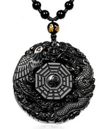 Black Elegant Round Natural Obsidian Crystal Pendant Necklace Dragon And... - $49.99