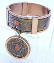 Matisse RENOIR Copper GRACELET Orange Enamel Dangle Hinge Bracelet - $74.25