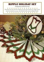 X306 Crochet PATTERN ONLY Ripple Holiday Tree Skirt & Stocking Pattern - $9.50