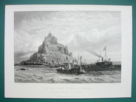 MOUNT ST MICHAEL Qeen Victoria in Royal Yacht - SUPERB 1850s Antique Print - $26.01
