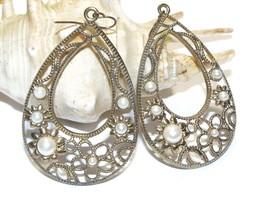 Filigree Metal Teardrop Earrings with Faux Pearls, Filigree Teardrop Dan... - $18.95