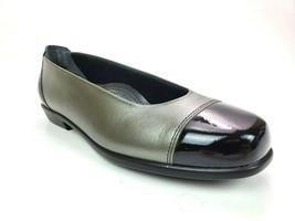 SAS Coco Comfort Ballet Flat Shoes Black Graphite Leather Cap Toe - $79.95
