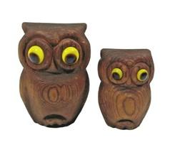 "Vintage Wooden Owl MINI Set of 2 Figurine MOC Japan 1 1/2""-2 1/2"" Statues - $19.79"