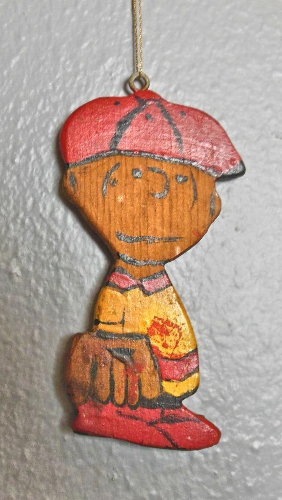 "Vintage Hand Painted Wood Ornament Baseball ""Charlie Brown"" 4.5"""