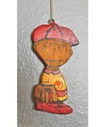"Vintage Hand Painted Wood Ornament Baseball ""Charlie Brown"" 4.5"" - $16.40"