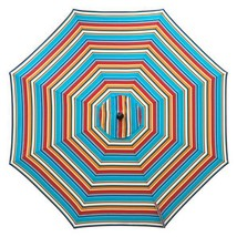 Blue Red Orange Stripe 6ft Deluxe Patio Umbrella Crank Tilt White/Bronze... - $123.95