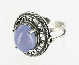 Vintage Sterling Large 5 Ct Blue Chalcedony Wire Filigree Ring Size Adju... - $67.49