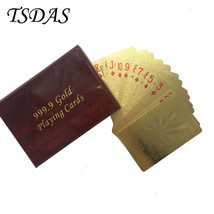 24K Gold Foil Plated Poker FU Letter Game Playing Cards With Nice Wooden... - $14.50