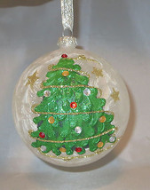 White Ornament Ball Glass Christmas Tree Crystal Accents Glittery Hand P... - $15.83