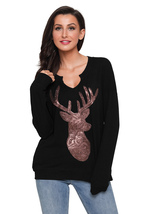 Black Women's Sequin Christmas Reindeer Top  - $23.73
