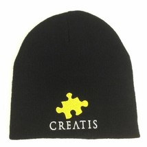 Yupoong Mens Black Beanie Knit Hat Turbo Acrylic Embroidered Creatis Logo - $15.99