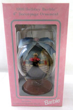 "1998 Holiday Christmas Barbie 4"" Decoupage Ornament Wooden Stand Collect... - $9.46"