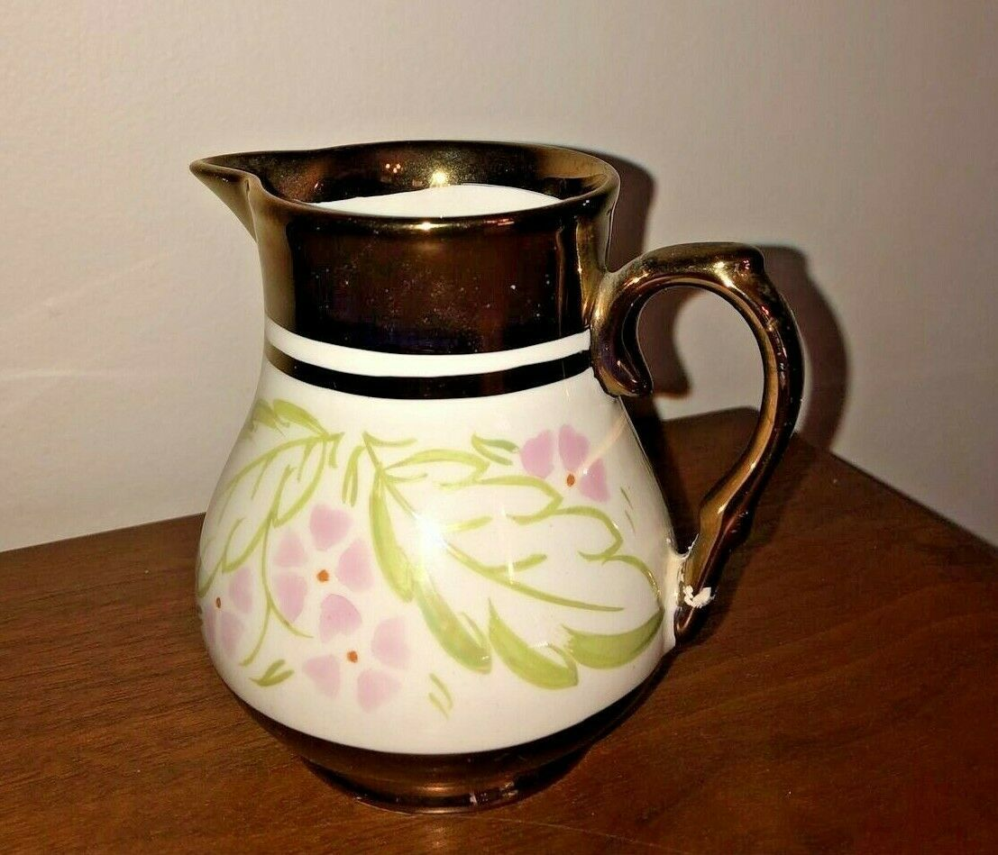 Vintage Wade Copper Luster Ware Pitcher Creamer Hand Painted Made in England - $11.99