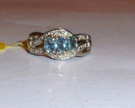 KANCHANABURI BLUE SAPPHIRE & DIAMOND 3-STONE RING, 925 SILVER, SIZE 5, 0.89(TCW) - $59.99
