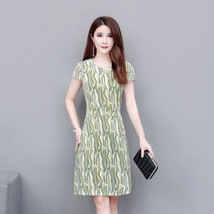 Women Summer Printing Large Size Slim Fit Mid-length Dress Round Collar ... - $20.72