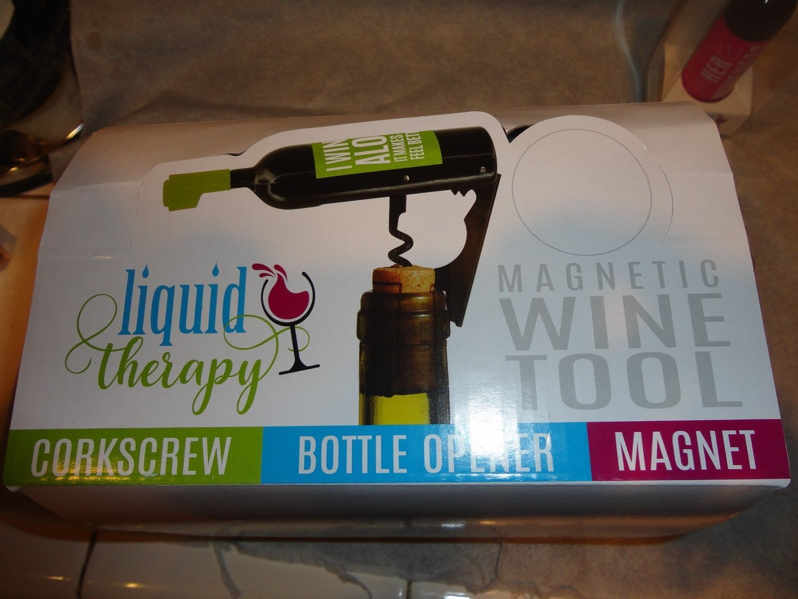 Liquid Therapy Magnetic WINE TOOL Corkscrew Botlle opener Magnet Great Gift ON
