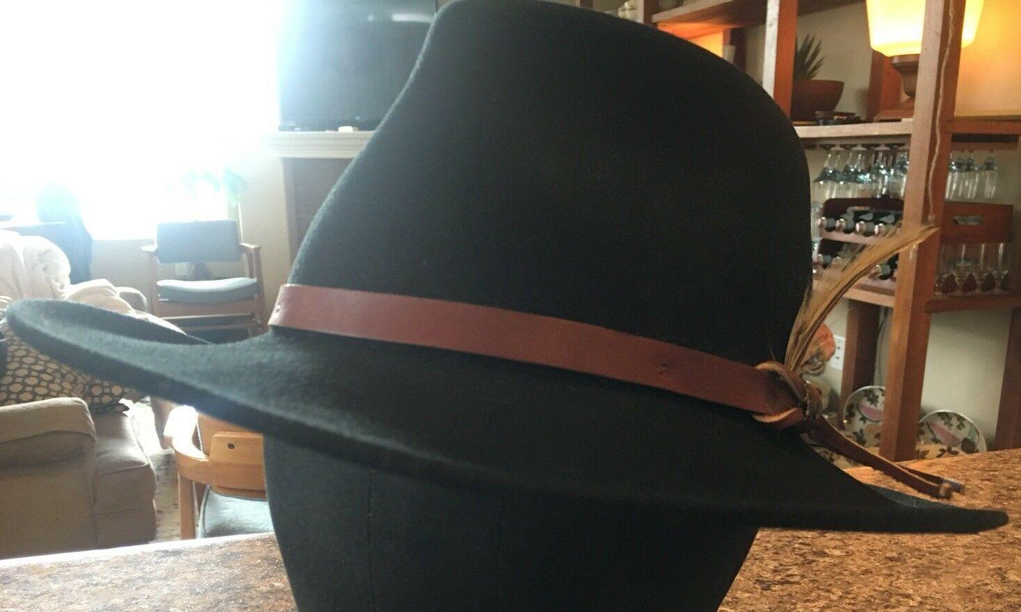 DORFMAN PACIFIC Fedora Black Wool Felt Velvet Hat Feather Sz M Brush Made USA image 6