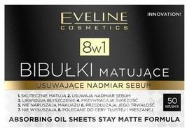 Eveline Absorbing Oil Sheets Stay Matte Formula 8in1 50 pieces Bibulki M... - $6.17