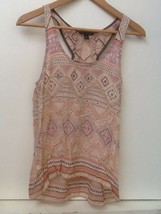 American Eagle Outfitters High Low Peach Gray Print Tank Top, Size Small S - $10.95