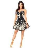Elegant Black Floral and Satin Short Formal Corset Back Dress - $299.00