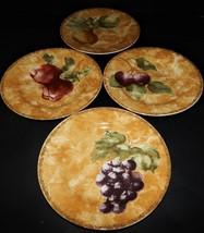 4 Cortland 222 Fifth by Cheri Blum Apple Pear Grape Fruit Salad Plates S... - $49.49