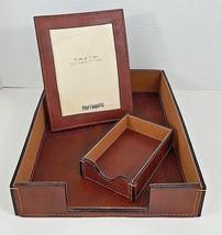 Pier 1 Brown Leather Desk Set - 3 Piece - Legal Tray, Memo Tray & Photo ... - €40,27 EUR