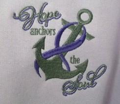 Purple Ribbon Hope Anchors Soul Sweatshirt 2XL Alzheimer's Orchid Crew N... - $33.92