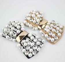 2 Pcs Pearl Black Or Khaki Pearl Crystal Shoes Decoration Shoe Clips  - $9.89