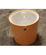 VINTAGE PEACH PINK VINYL ICE BUCKET WITH LUCITE COVER - $25.00