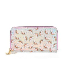 No Boundaries Ladies Zip Around Wallet Silver With Rainbows NEW - €11,26 EUR