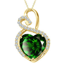 "Emerald Halo Double Heart Love Pendant Necklace 14K Yellow Gold 18"" Chain - $295.52"