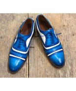 Men's Handmade Navy Blue & White Lace Up Shoes, Men's Leather Cap Toe Shoes - $144.99+