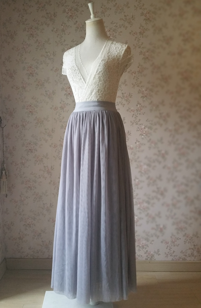 LIGHT GREY Maxi Tulle Skirt Elastic High Waisted Grey Wedding Bridesmaid Skirts