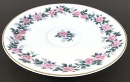 """Noritake 5417 Pink Roses Gray & Green Leaves Pattern 6"""" Saucer Plate Japan China - $6.23"""