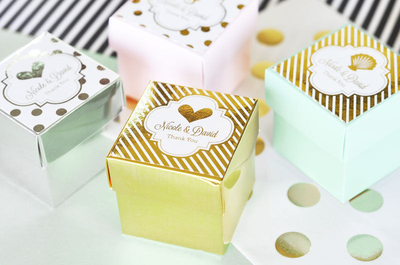 108 Personalized Gold or Silver Foil Cube Candy Mint Bridal Wedding Favor Boxes