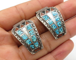 925 Silver - Vintage Navajo Multiple Crushed Gemstone Mosaic Watch Handl... - $59.13