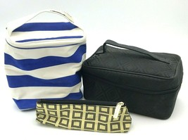 3 Estee Lauder Cosmetic Bags Removable Mirror Handle Blue White Black - $15.99