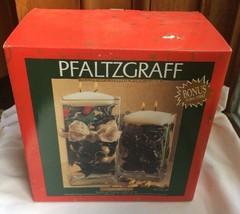 Pfaltzgraff Galaxy Light Beams Floating Candle 2 Vase Set Holly & Yellow Flower - $18.70