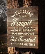Rustic Cedar Board Sign Welcome To Our Firepit 12 x 16 Vintage Style Ite... - $35.00