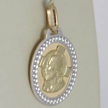 Pendant Yellow Gold Medal White 750 18k Oval, Christ and Cross, worked image 2